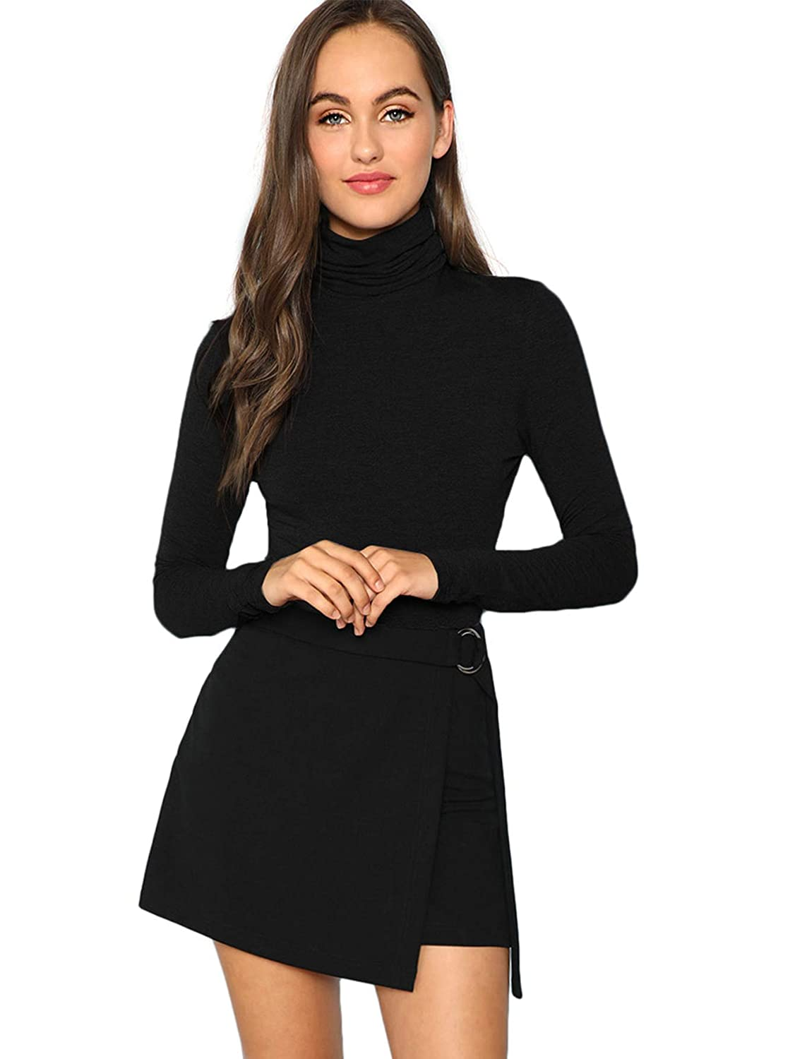 Black Verdusa Women's High Neck Long Sleeve Knit Bodysuit