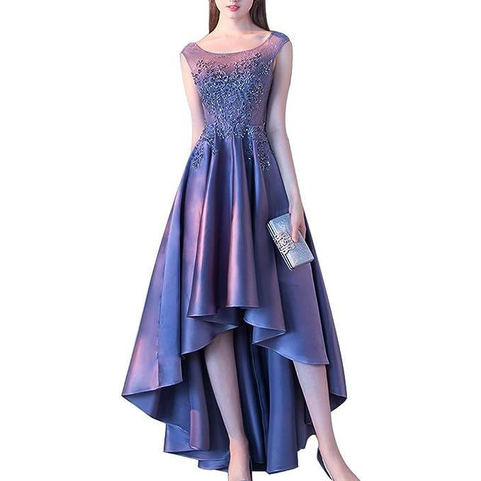 Elegante Encaje Banquete Vestidos de Noche Mujer Cuello Redondo Trasero Largo Corto delantero Maxi Vestido de bola Vestido de fiesta de graduación: ...