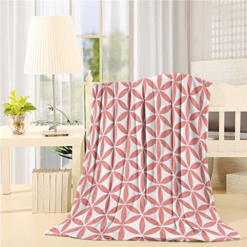Flannel Fleece Blanket Lightweight Cozy Bed Sofa Blankets Super Soft Fabric Pink Oval Pattern 59x79 inch (Heated Oval Pet)