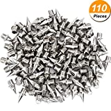 Hicarer 110 Pieces 1/4 Inch Steel Track and Cross Country Spikes Replacement Shoe Track Spikes, Silver Color