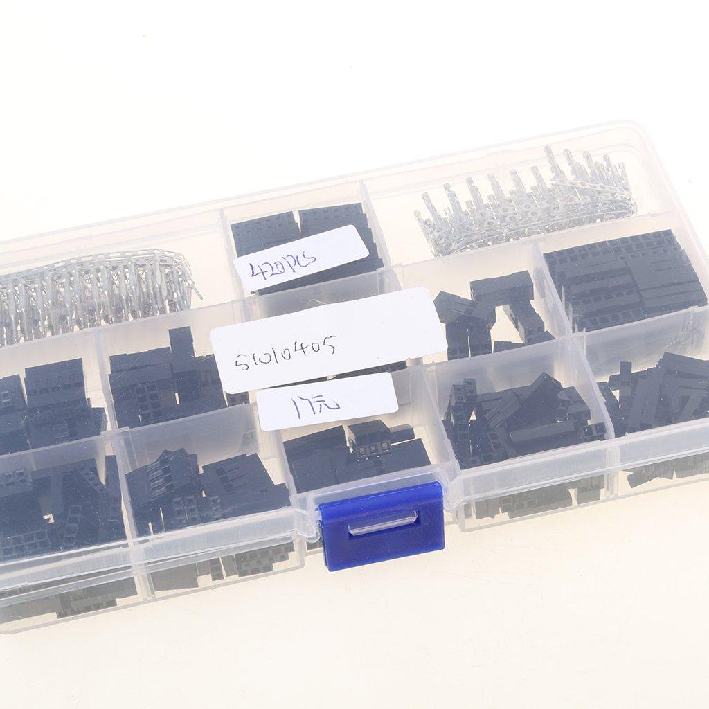 Sharplace Emsemble de 420pcs Connecteur Broche Dupont Femelle et M/âle//Femelle Dupont Broches avec Etui de Rangement Clair
