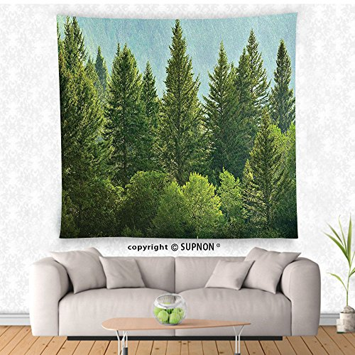 VROSELV custom tapestry Nature Decor Tapestry Forest Pine Tree Tops Refreshing Eco Woodland Wilderness Mountainside Landscape Wall Hanging for Bedroom Living Room DormGreen Wilderness Lodge Christmas Music