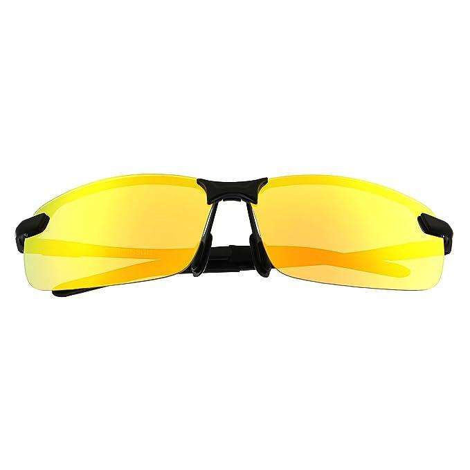 RONSOU Herren UV400 Randlos Aluminium-Magnesium Polarisiert Männer Sonnenbrille zum Fahren Angeln Golf Draussen schwarz rahmen/gold linse xnC5VCAN7m