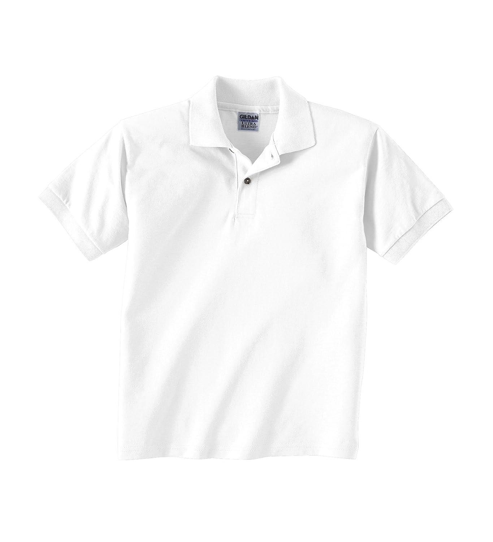 Gildan DryBlend Youth 56 oz, 50/50 Jersey Polo -G880B- WHITE,S