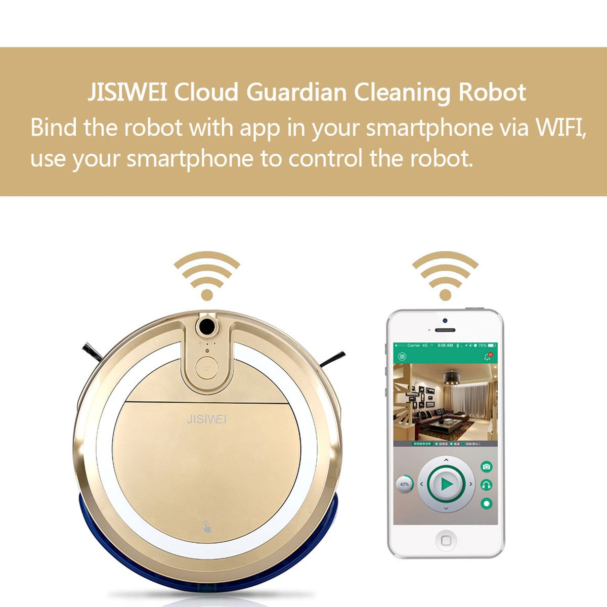 JISIWEI i3 Robot aspirador automático limpiador con cámara HD integrada Application mando a distancia para Smartphone Android y iOS - dorado: Amazon.es: ...