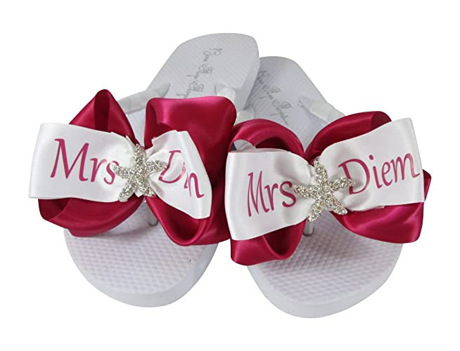 b9698e676394 Amazon.com  Hot Pink Starfish Bridal Bow Personalized Flip Flops - Flat  White or Wedge Ivory Heel  Handmade