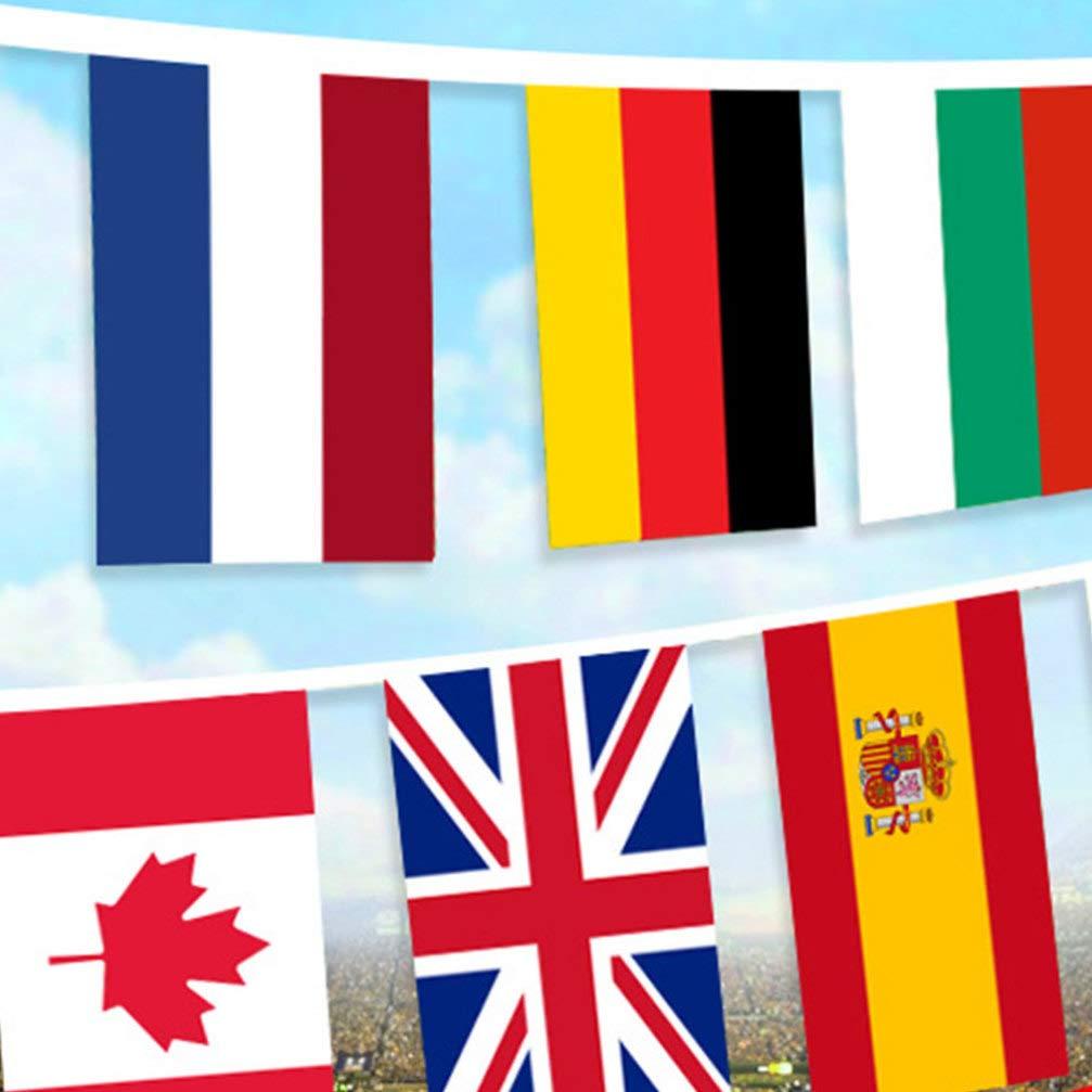 Healifty 100 Pays Drapeaux cha/îne Drapeaux internationaux Drapeaux du Monde banni/ère pour Bar Party Clubs de Sport Inauguration Festival /év/énements