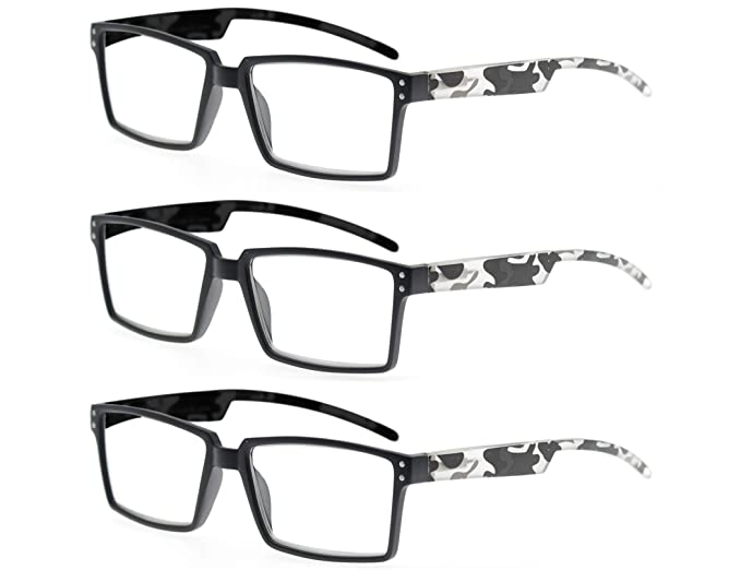 51a4b6687313 MODFANS 3-Pack Reading Glasses Camo Rectangular Comfort Fashion with Spring  Hinge Beautiful Patterns for