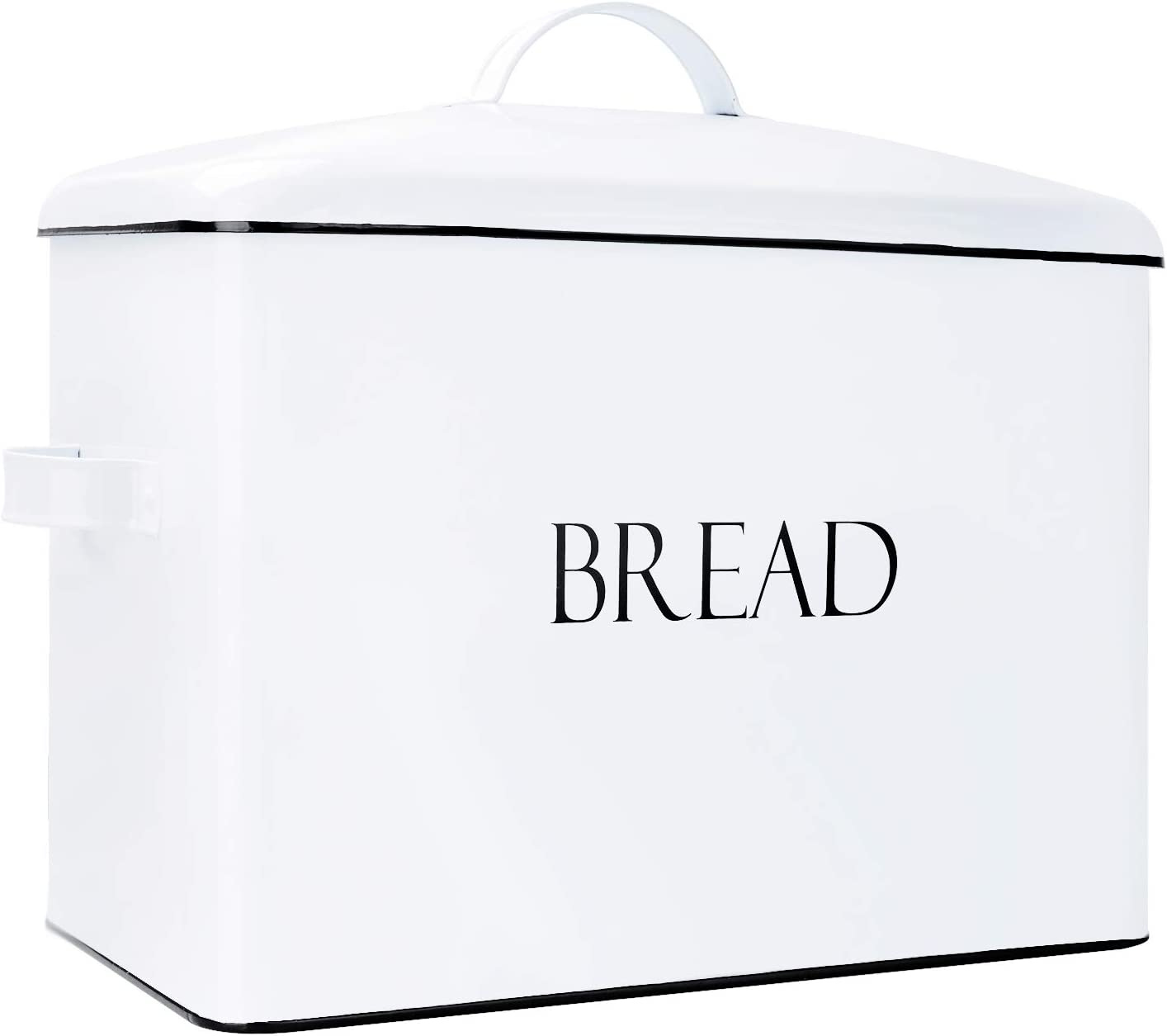 """Outshine Vintage Metal Bread Bin - Countertop Space-Saving, Extra Large, High Capacity Bread Storage Box for your Kitchen - Holds 2+ Loaves 13"""" x 10"""" x 7""""- White with BREAD Lettering (White)"""