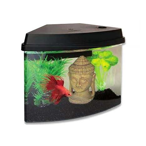 Acuario Cascade 4 de color negro,incluye luces LED y filtro de agua