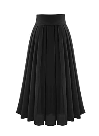 popular style 60% cheap elegant and sturdy package Omela Women Pleated Maxi Skirt High Waist Chiffon Long Skirts A-line