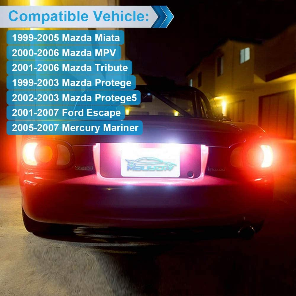MbuyDIY LED License Plate Light Lamp Assembly Compatible with Mazda Miata MPV Tribute Protege Protege5 Ford Escape Mercury Mariner 6000K White Pack of 2