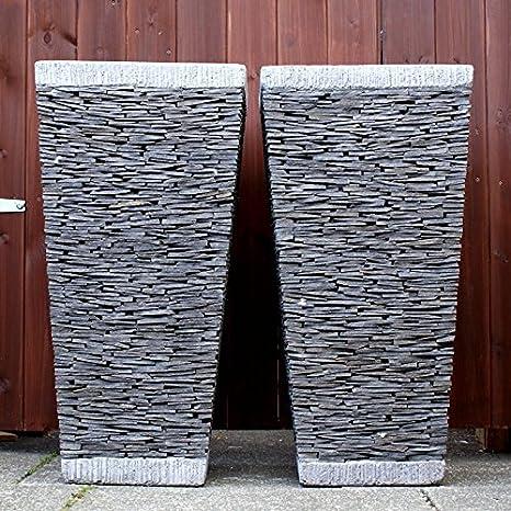 Enorme 80 cm natural apilados piedra pizarra cuadrado maceta ...