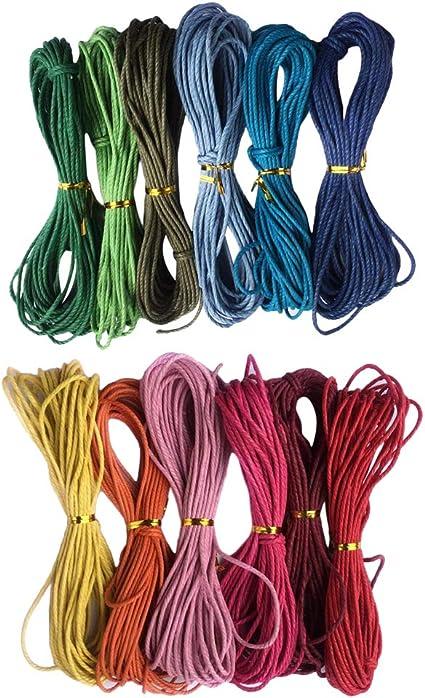 F Fityle 12 Colores 12mmx10m Cuerda Hilo de Algodón Encerado ...