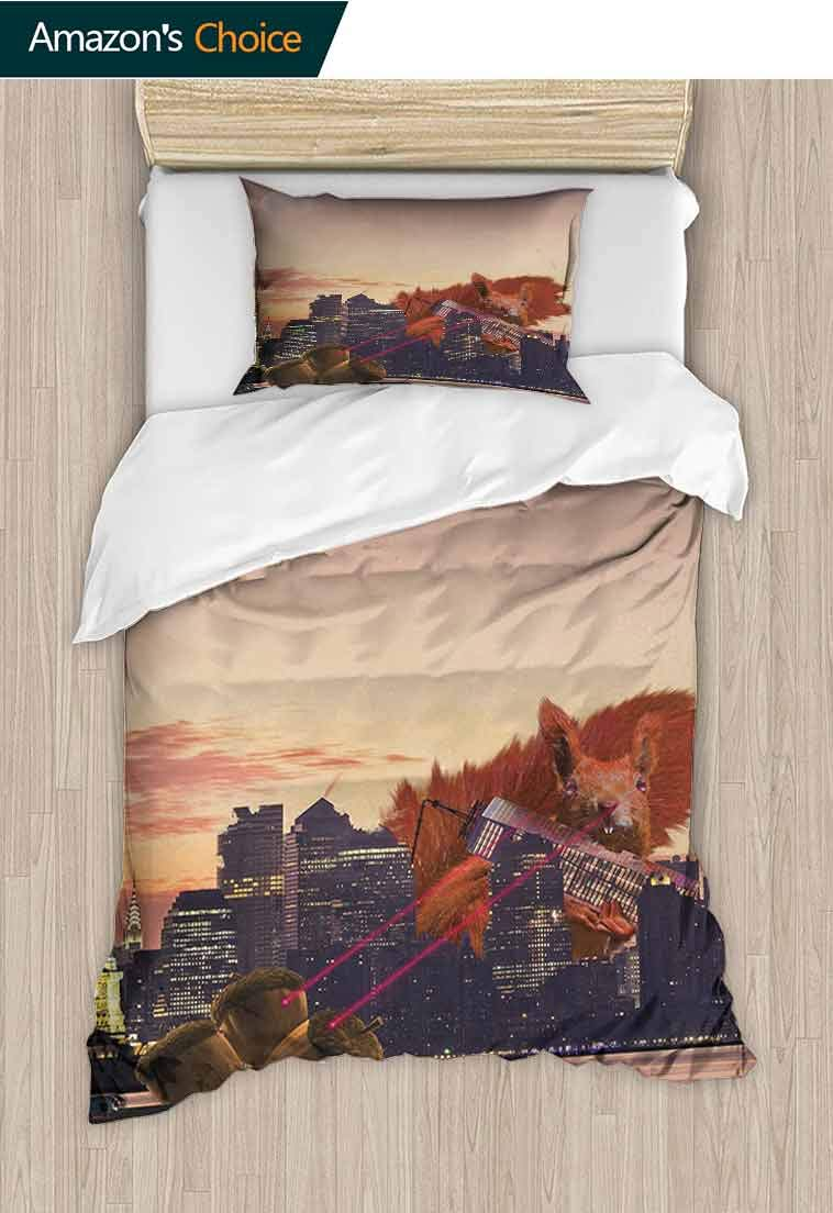 Animal Custom Made Duvet cover and Pillowcase Set, Big Squirrel Cartoon in New York City Urban Landscape Lasering Big Nuts Artwork, 2 Piece Bedding Quilt Coverlets - 100% Cotton Bed Quilts Coverlet