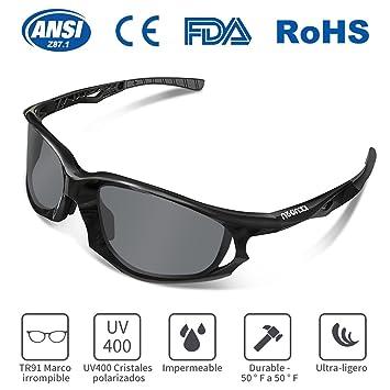 Gafas de Sol Deportivas, KKUP2U Gafas de Sol para Hombre y Mujer, Polarizadas con Protecciòn UV400 y Marco TR90 Irrompible, Deportes al Aire Libre, ...