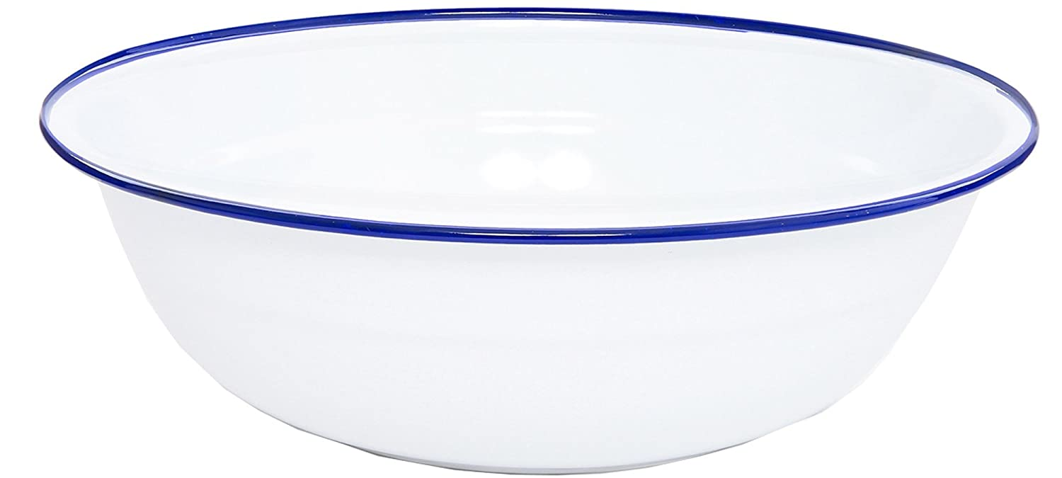 (Red Marble) - Enamelware Timpano Basin - Red Marble B004QPFO0Q Solid White with Blue Trim