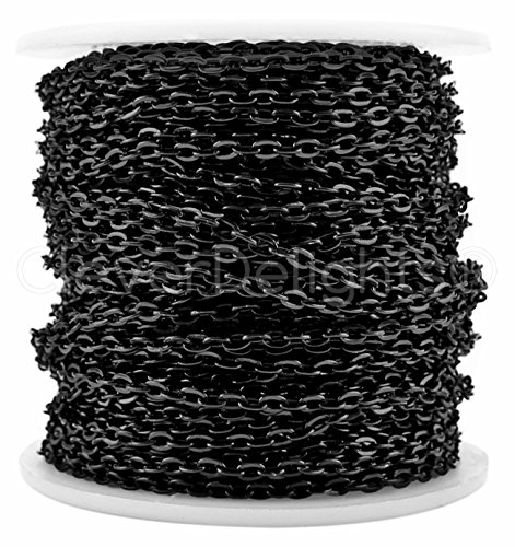 Black Chain (CleverDelights Cable Chain Spool - 100 Feet - Dark Black Color - 3x4mm Link - Bulk Rolo Chain - 30 Meters)