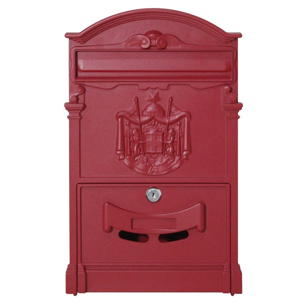 Olymstore Mailbox Medium Capacity Iron Letterbox for House Home ,Modern Rustproof Locking Security Mail Manager,Roadside Apartment Mailstore,Steel Letter Box with Lock & 2pcs Keys (Red,)