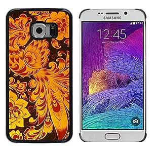 Be Good Phone Accessory // Dura Cáscara cubierta Protectora Caso Carcasa Funda de Protección para Samsung Galaxy S6 EDGE SM-G925 // Yellow Bird Art Wallpaper Flowers Floral Black