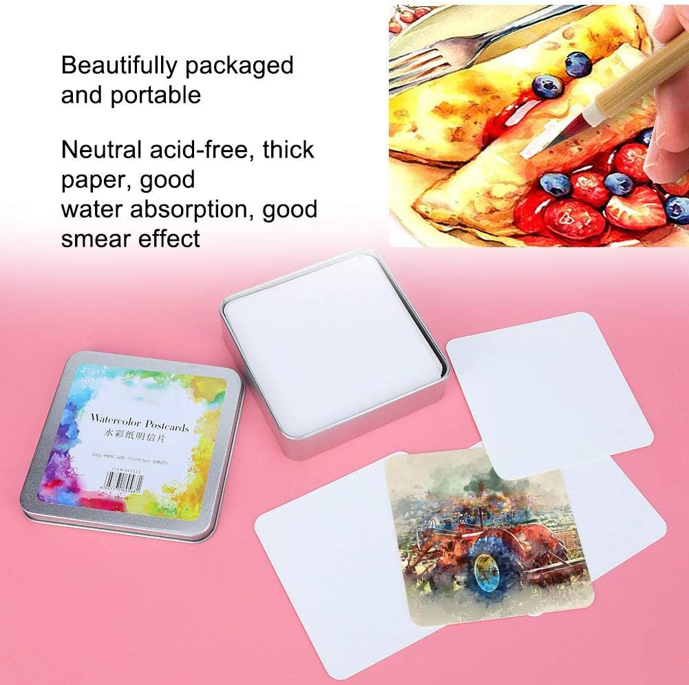 20 Sheets Portable Watercolor Paper Acid-Free Cold Pressed Pure Cotton Paper for Drawing Watercolor Painting and Wet Media 10.5cm 24 Sheets