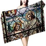 UHOO2018 Bath Towel Jesus Christ Baptism by Saint John The Baptist on an Old Stained Glass Window ation Bathroom Towels W 31.5'' x L 63''