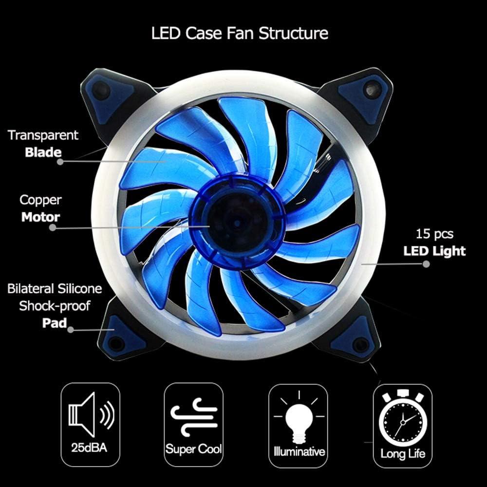 FZVAN LED High Airflow 120mm Fan 120X120X25mm Twin Pack Blue
