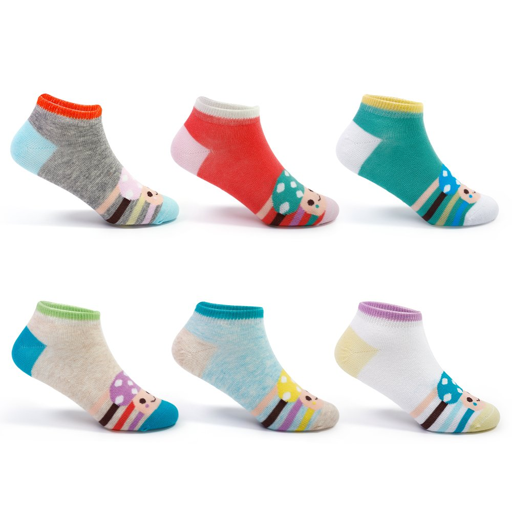 Girls No Show Cotton Socks Kids Low Cut Thin Athletic Seamless Socks 6 Pack For 2T/3T/4T