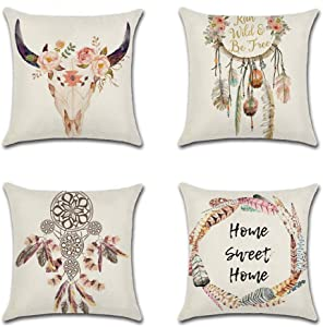 WEAGO Set of 4 Decorative Throw Pillow Covers 18x18 Inch for Farmhouse,Cushion Cover Case for Sofa Couch Bedroom Car Office,Dream Catcher Theme Boho Pillow Cases-Cotton Linen,Square