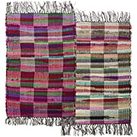 "Simply Genius 2 Pack Checkered 20""x32"" Chindi Rag Rugs – Colorful Recycled Fabric Durable Decor"