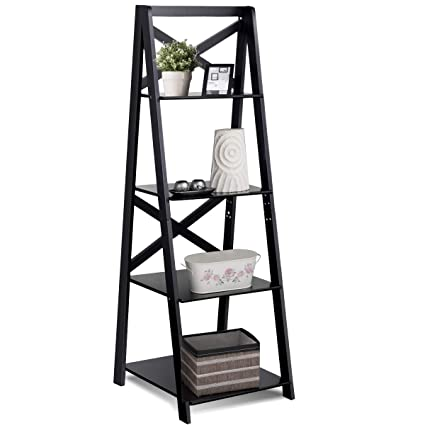 Tangkula 4 Tier Ladder Shelf Bookcase Leaning Home Office Free Standing Wooden Frame Decor Bookshelf