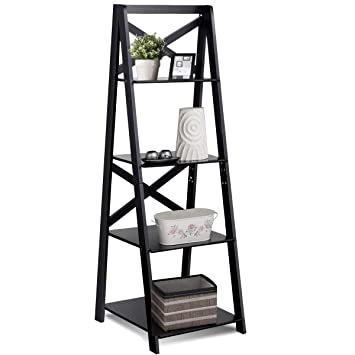 Amazon Com Tangkula 4 Tier Ladder Shelf Bookcase Leaning Home