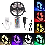 Minger Flexible LED Strip Light,Non-Waterproof 16.4ft(5m) 150leds RGB SMD 5050 Rope Lighting Strips Color Changing Full Kit with 44-keys IR Remote Controller & 2A Power Supply for Home Lighting Kitchen Christmas Indoor Decoration