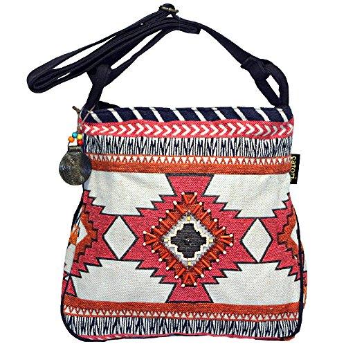 - Boho Chick Crossbody Shoulder Bag Woven Tribal Aztec Patten Red