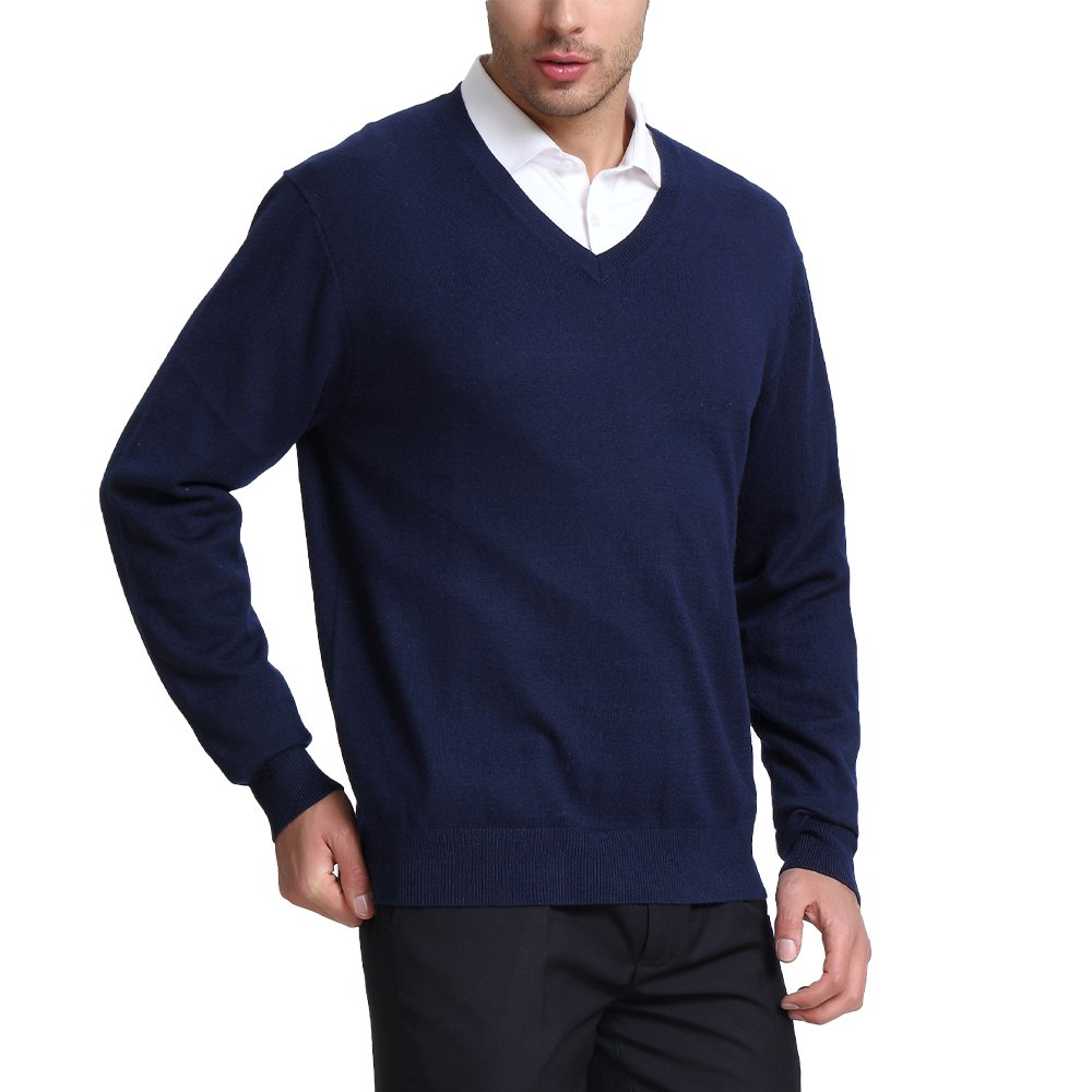 CHAUDER Wool V Neck Pullover Sweater Black (XL, Navy Blue)