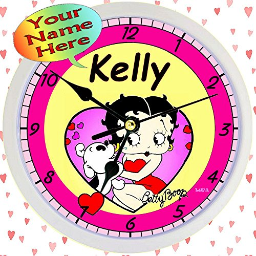 Personalized Betty Boop Hearts Wall Clock