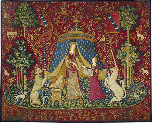 corn - À Mon Seul Désir (Desire)   Woven Tapestry Wall Art Hanging   Historic Middle Ages Tapestry Reproduction   100% Cotton USA Size 62x50 ()