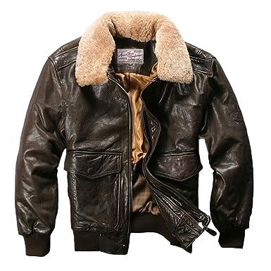 Avirex Fly chaqueta bombardero chaqueta de piel Para Hombre Piel De Cordero abrigo chaqueta: Amazon.es: Ropa y accesorios