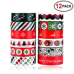 Konsait Christmas Washi Tape Set 0.59Inch x 393.7FT(12 Roles), Merry Christmas Masking Tape Collections Art Craft Pack Gift Present Wrap for Xmas decorations Christmas Themed Party Favors Supplies