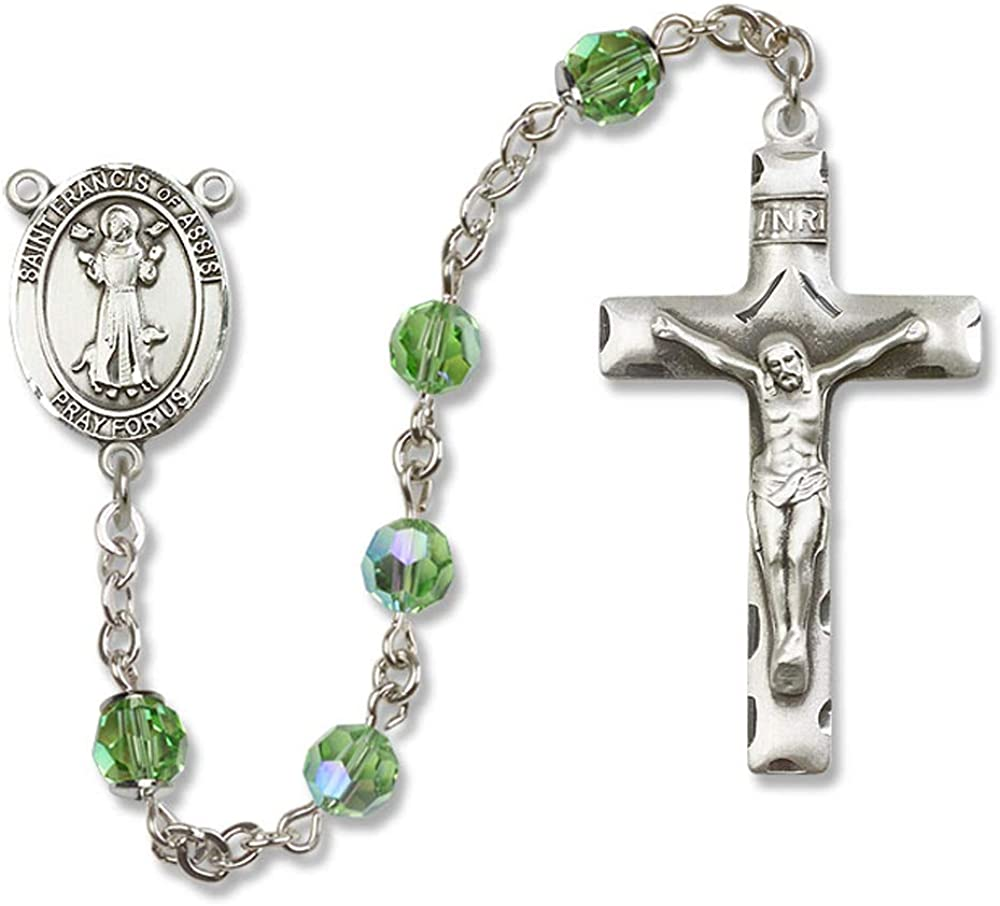 Francis of Assisi Center Francis of Assisi is the Patron Saint of Animals//Catholic Action. Austrian Tin Cut Aurora Borealis Beads 6mm Swarovski St All Sterling Silver Rosary with Peridot St
