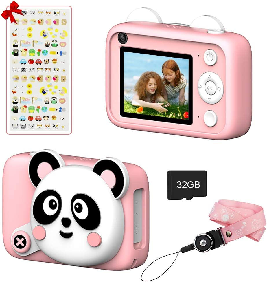Fistone Kid Digital Camera, 2.4inch HD Screen and 32GB Memory Card Rechargeable Camera Toy Gifts for 3 4 5 6 Years Old Kids