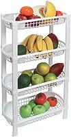 Fruteira de Chão Organizador de Cozinha de Plástico Multiuso 4 Cestos FR-16