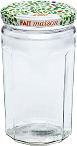 Le Parfait Jam Jar - 645ml Faceted French Glass Jelly Jar w/Twist Lid, Berry, 22oz (Pack of 4)