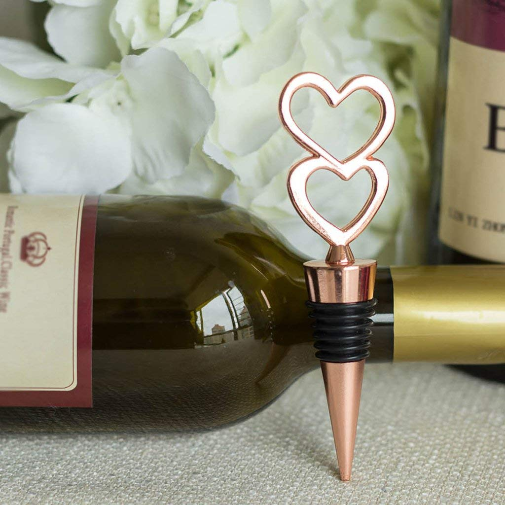 Tableclothsfactory Rose Gold Metal Double Heart Wine Bottle Stopper Wedding Favor With Velvet Gift Box - Lot of 25 by Tableclothsfactory (Image #3)