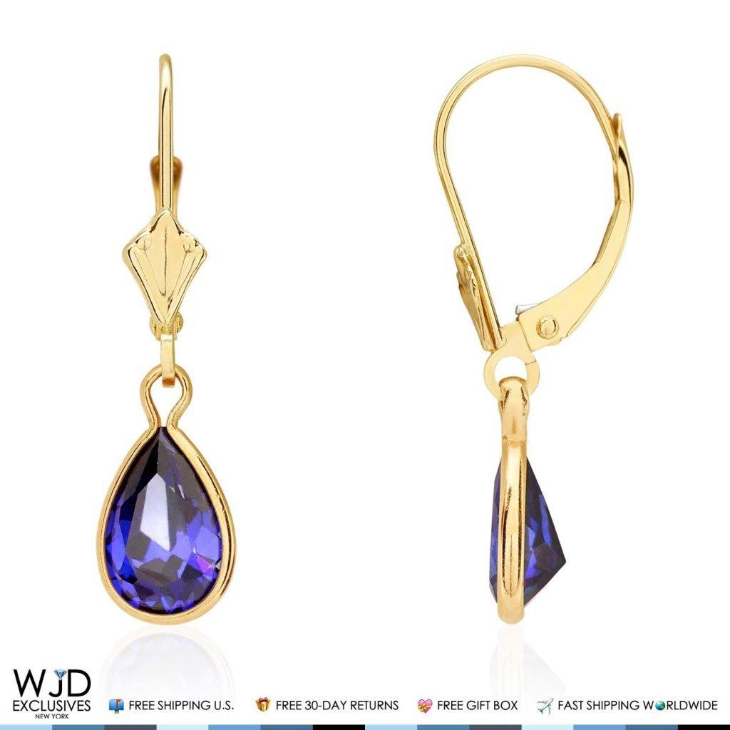 14k Yellow Gold Teardrop Bezel Birthstone Dangle Leverback Earrings 1'', Amethyst by WJD Exclusives (Image #7)