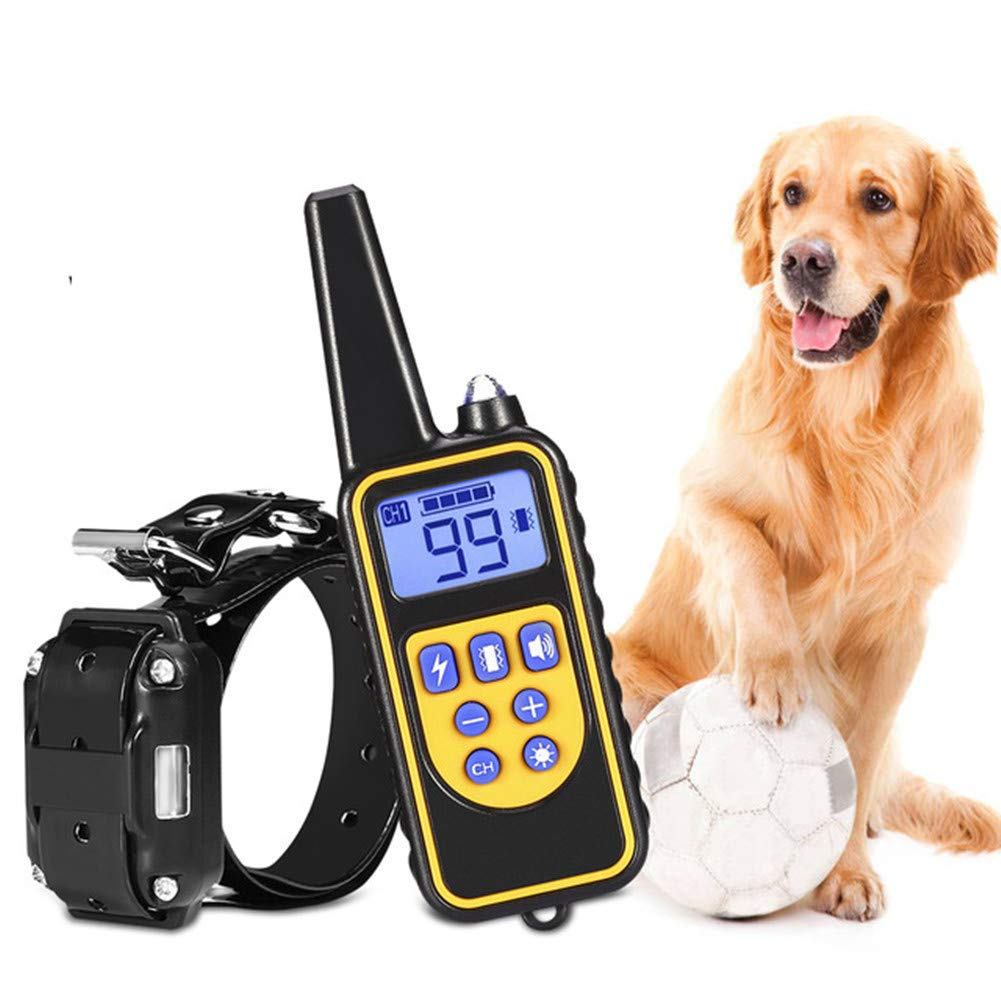 Two collar 800m Electric Dog Training Collar Pet Remote Control Waterproof Rechargeable with LCD Display Bark-Stop Collars (Two Collar)
