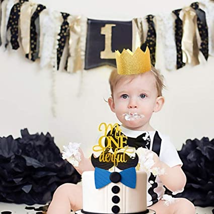 JeVenis Glittery Mr Onederful Cake Topper 1st Birthday Little Man With Baby