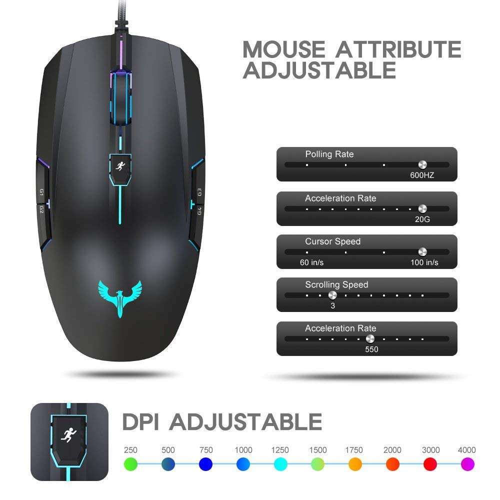Gaming Mouse Blade Hawks Wired Pc Computer 2000 Saturn Sl Wiring Diagram Free Download 4000 Dpi Adjustable 8 Buttons Led Backlight For Pro Gamer Win 10 7 Xp Vista Mac