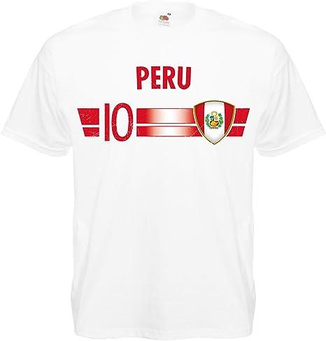 Shirt-Panda Camiseta de Mundial de Fútbol Fan Número de Artículo 10 Campeonato Mundial – 2018 – Países Camiseta Jersey hombre mujer niños, Unisex, Peru, xx-large: Amazon.es: Deportes y aire libre