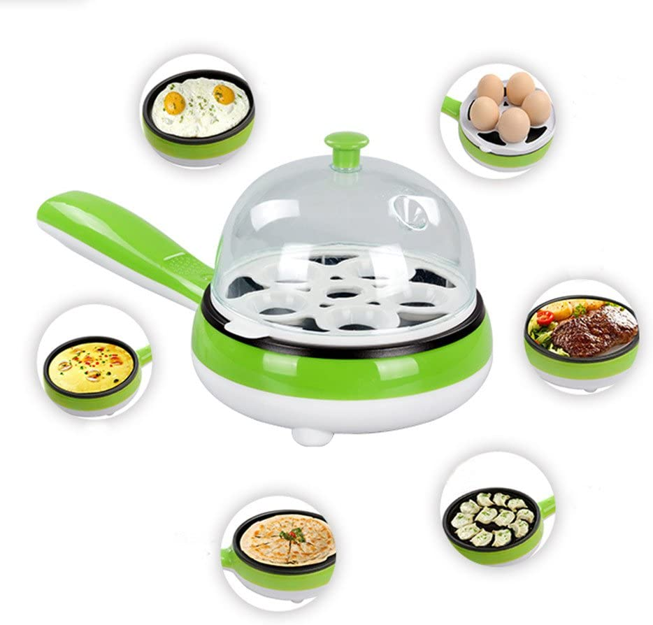 Hekitech Egg Cooker 6 Egg Capacity Electric Skillet for Eggs Poached, Eggs Boiled, Eggs Fried and Eggs Omelets with Auto Shut Off Function - Green